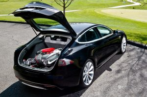Tesla Model S Electric Luxury Sedan compartment
